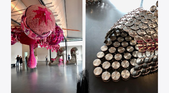 Joana Vasconcelo - Marylin (2011).  The gigantic high-heels made from steel pots and lids exude luxury and power. At the same time, they clearly remind us of the position of women in society and their role as trophy and house wives.