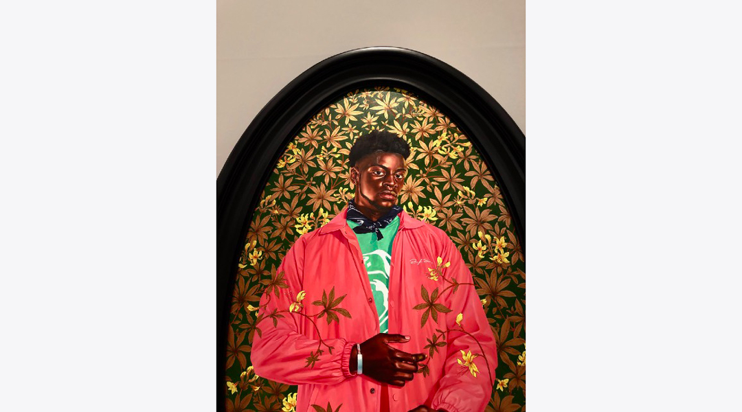 Kehinde Wiley - Portrait of Margaret Woffington (2017).  The artist applies a classic pictorial language to modern subjects and cultural issues.